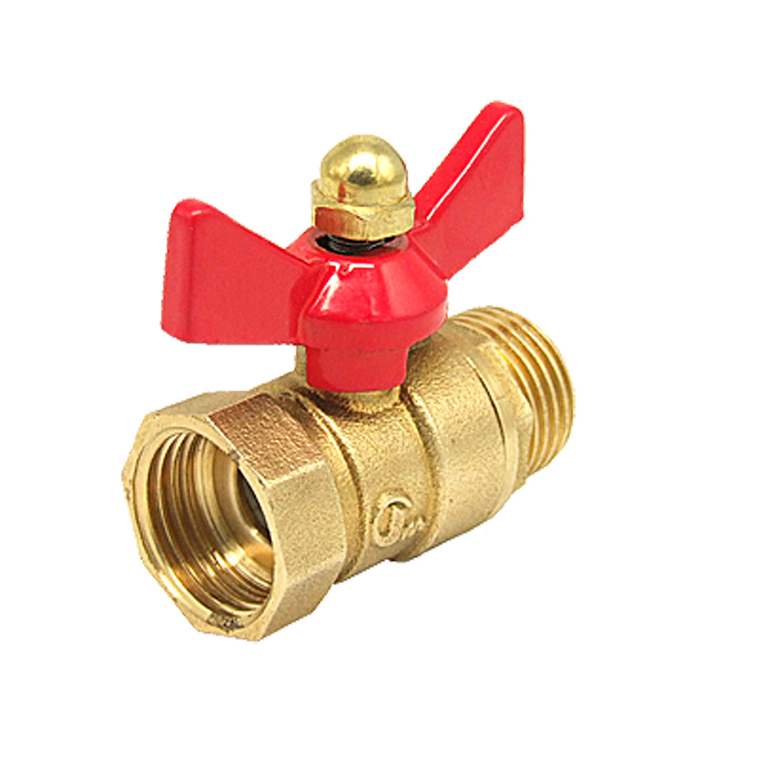 "Brass Tone Red DN15 1/2"" Butterfly Jade M/F Thread Brass Ball Valve"