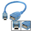 USB Female A to USB Mini Male B 5 Pin Adapter Cable Blue