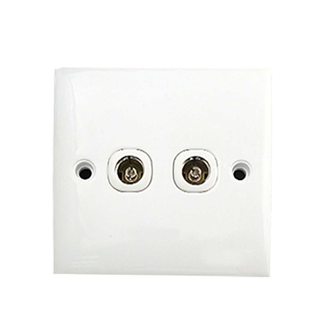 AC 250V 10A 2-Gang PAL Female Jack TV Aerial Antenna Wall Plate Outlet