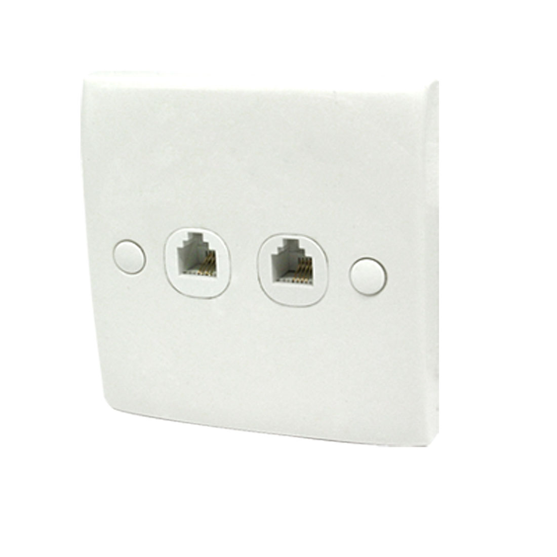 White 2-Gang Double RJ11 Phone Modular Jack Outlet Wall Plate