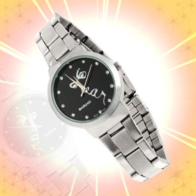 Fashion Jewelry Black Dial Round Metal Women Watch Silver