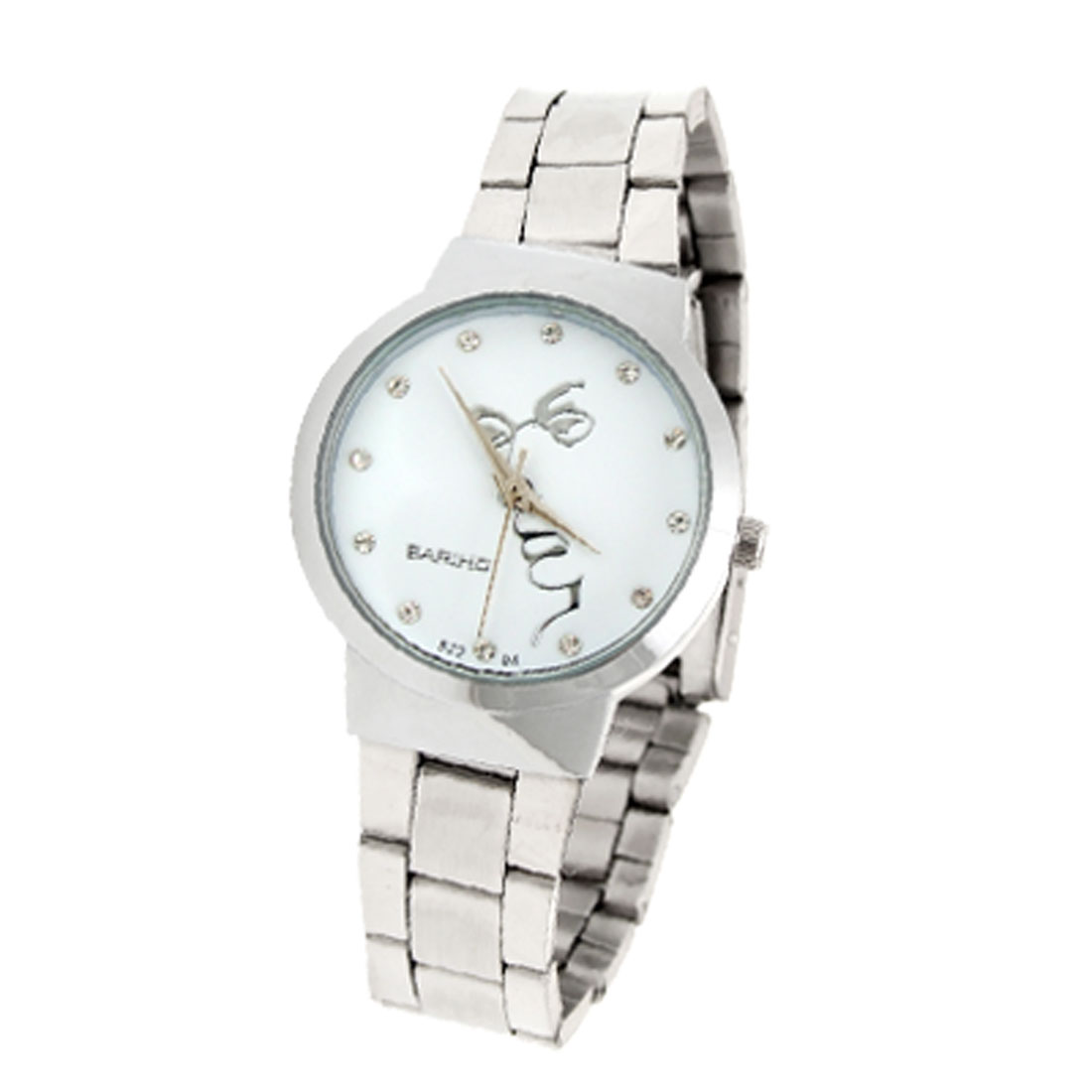 Fashion Jewelry White Dial Round Metal Wrist Ladies Watches Silver