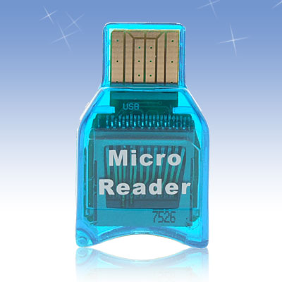 Super Mini Smart Compact M2 Micro SD Card Reader Blue