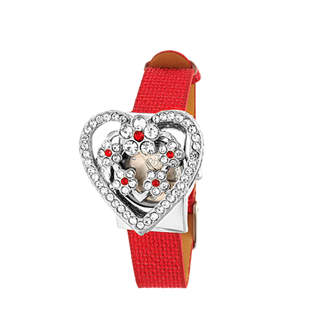 Fashion Jewelry Red Rhinestone Heart Watchcase Leather Band Ladies Watch