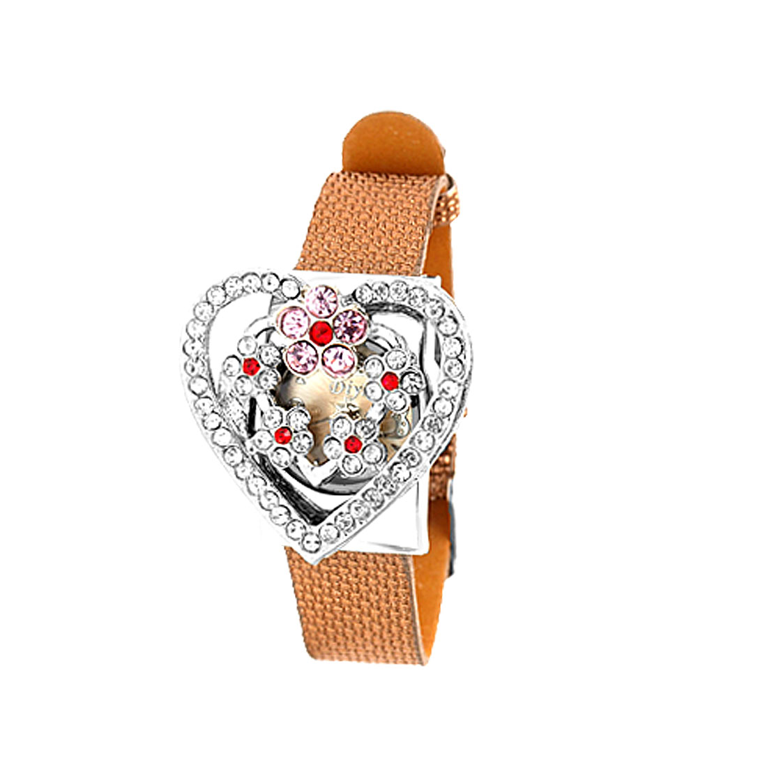 Fashion Jewelry Pink Rhinestone Heart Watchcase Brown Leather Band Ladies Watch