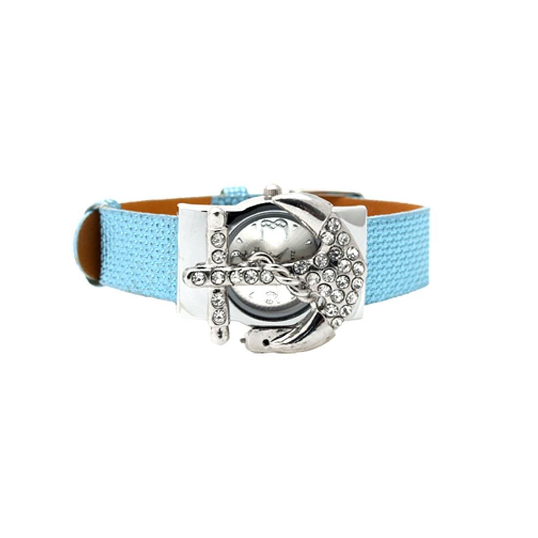 Fashion Jewelry Blue Leather Band Rhinestone Peltate Watch