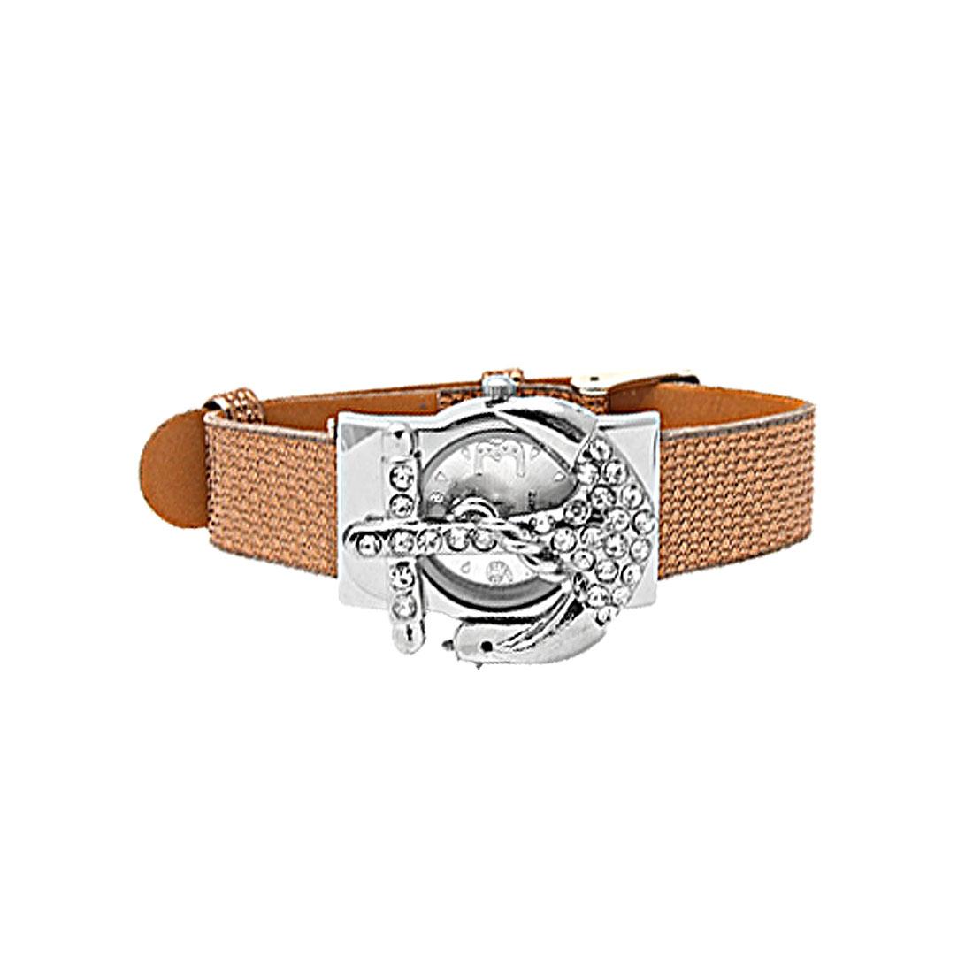 Fashion Jewelry Brown Leather Band Rhinestone Peltate Watch