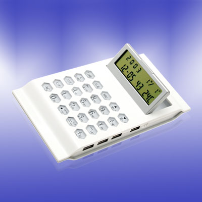 USB Calculator Calendar Digital Countdown Alarm Clock with Temperature White