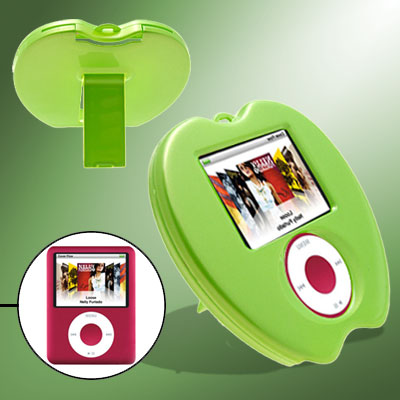 Novelty Green Apple Plastic Hard Cover Case with Stand for iPod Nano 3rd Generation