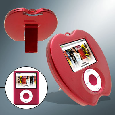 Stylish Red Apple Shape Hard Plastic Cover Case with Stand for iPod Nano 3rd Generation