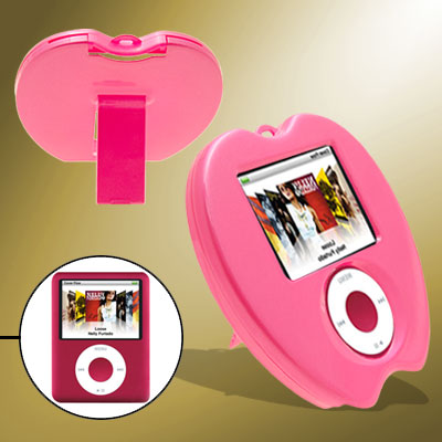 Stylish Apple Shape Pink Plastic Hard Cover Case with Stand for iPod Nano 3rd Generation