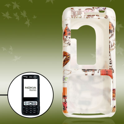 White Cartoon Couple Plastic Hard Case for Nokia N73