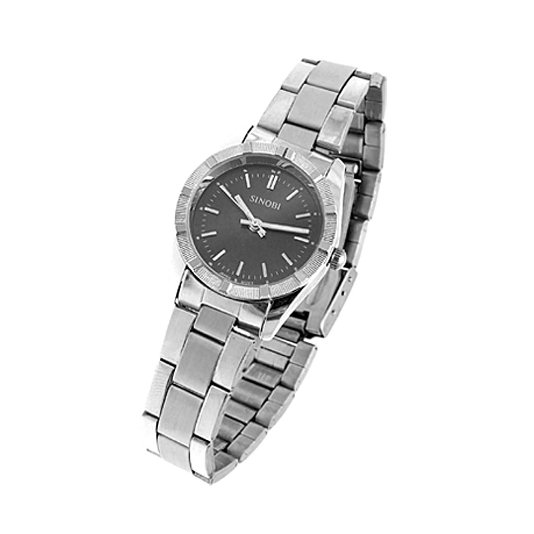 Fashion Jewelry Round Black Dial Watchcase Metal Band Lady's Watch