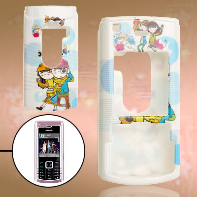 Baby Blue Couple Pattern Plastic Case for Nokia N72
