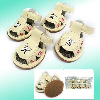 Fashion Anti-Slip Pet Paw Small Sandals Booties Protective Dogshoes White #3