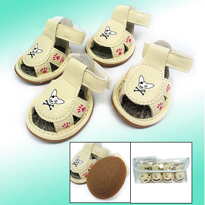 Fashion Small Pet Paw Sandals Booties Protective Dogshoes White #4