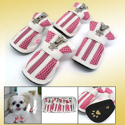 Pink Fashion Small Protective Dog Paw Booties Pet Boots Shoes #4