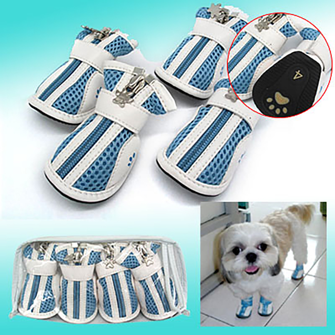 Light Blue Anti-Slip Fashion Small Protective Dog Paw Booties Pet Boots Shoes #4