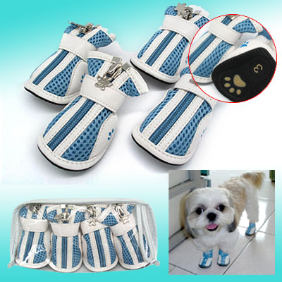 Anti-Slip Small Protective Fashion Paw Booties Pet Dogshoes Boots Light Blue #3
