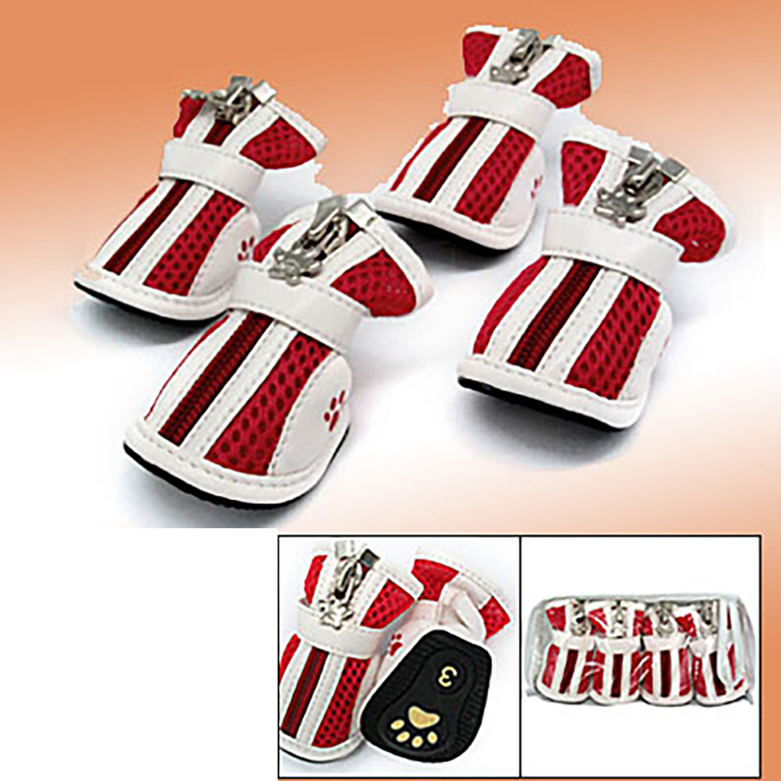 Red Protective Fashion Small Paw Boots Pet Dogshoes Booties #3