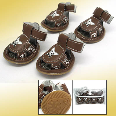 Anti-Slip Fashion Small Booties Sandals Protective Pet Dogshoes Brown #3