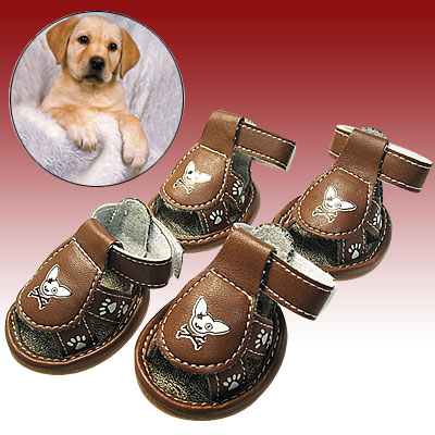 Fashion Small Protective Paw Sandals Booties Pet Dog Shoes Brown #4