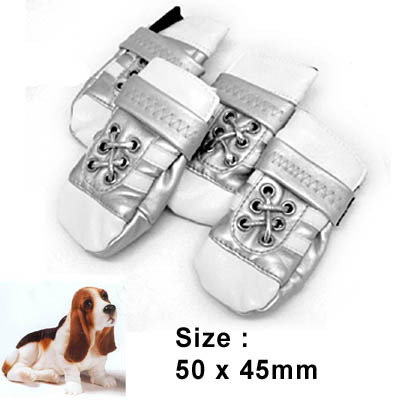 Small Protective Pet Boots Leather Booties Dog Shoes Silver