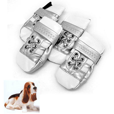 Large Protective Pet Boots Leather Booties Silver Dog Shoes