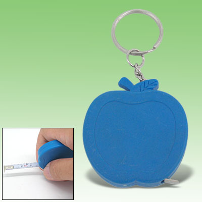 Pocket Blue Apple Retractable Tape Measure Ruler Keychain