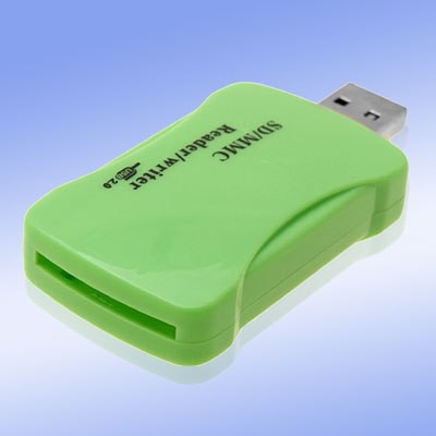 Green Pocket USB 2.0 SD MMC Card Reader Writer