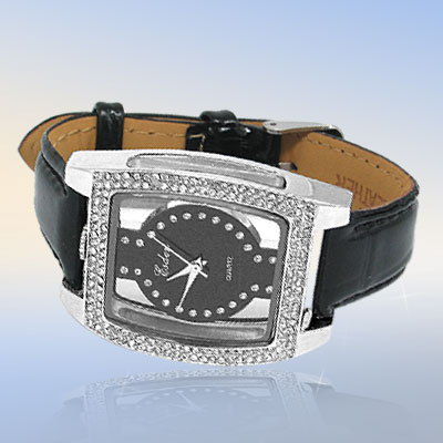 Fashion Jewelry Quadrangle with Rhinestone Black Leather Band Watch