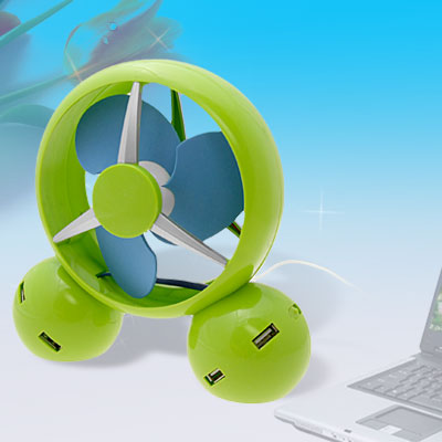Cute Green Desk Cool Fan with 4 Port USB Hub
