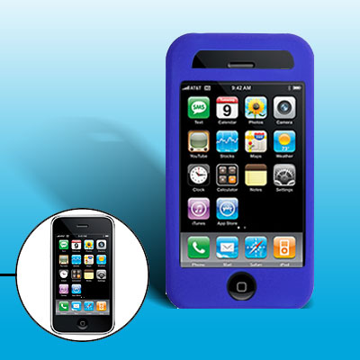 Stylish Protective Silicone Skin Case Cover for Phone 3G / 3GS Blue