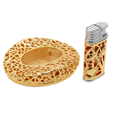 2 in 1 Olympic Golden Bird's Nest Ashtray and Windproof Flash LED Cigarette Lighter
