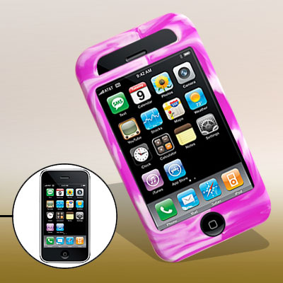 Swirly Protective Silicone Skin Case Cover for Phone 3G / 3GS Purple