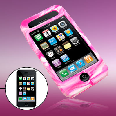 Swirly Protector Silicone Skin Case Cover for Phone 3G / 3GS Purple Pink