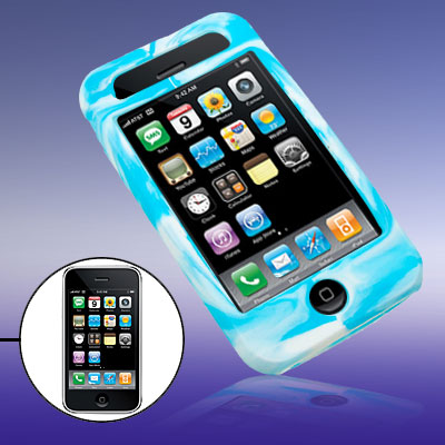 Novelty Swirly Silicone Skin Protector Case Cover for Phone 3G / 3GS Light Blue