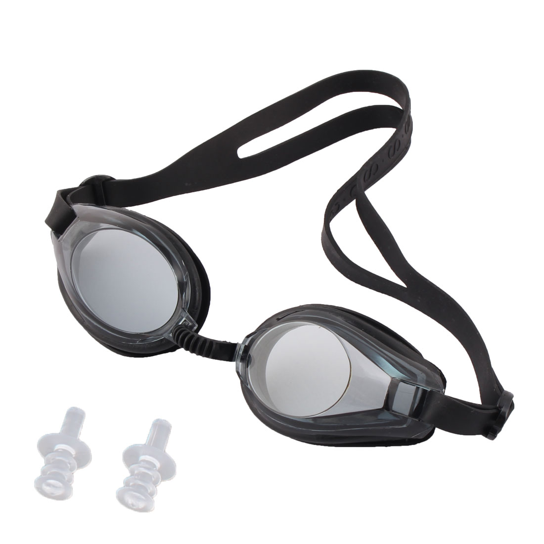 Swim Swimming Water Silicone Adjustable Elastic Strap Pool Adult Goggles Black