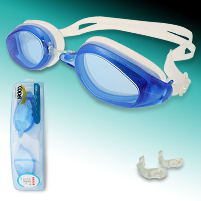 Blue White Dual Color Silicone Swimming Googles