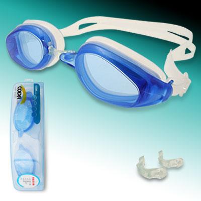 Blue White Dual Color Silicone Swimming Googles
