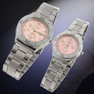 Fashion Jewelry Pink Dial Stainless Steel His and Her Couple Watches