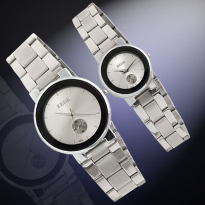 Fashion Jewelry Stainless Steel Silvery Dial His and Her Couple Watches