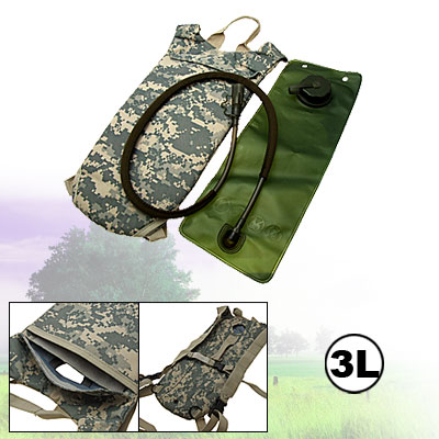 Army 3L Plastic Hydration Water Bag with Backpack for Hiking Camp