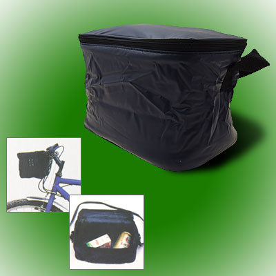 Navy Blue Folding Lunch Drink Bicycle Bike Rack Insulated Cooler Zipper Bag