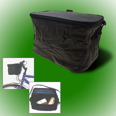 Folding Lunch Drink Bicycle Bike Rack Insulated Cooler Black Zipper Bag