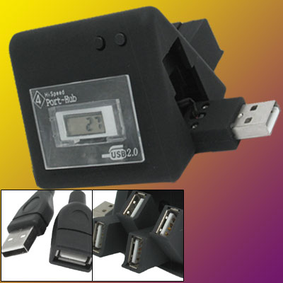 Folding Black USB 2.0 4 Port Hub with Clock for Laptop Computer