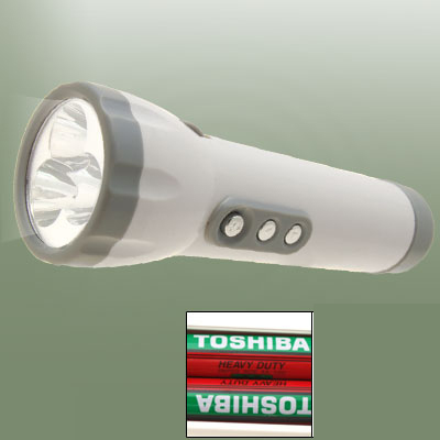 Emergency 3 LED White and Gray Flashlight Torch with FM Radio