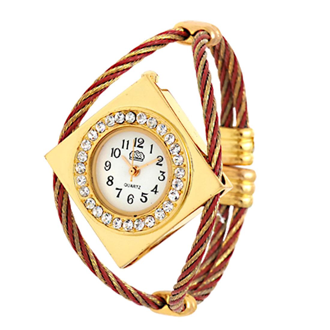 Golden Fashion Rhombic Watch Case Bracelet Girl's Quartz Watch