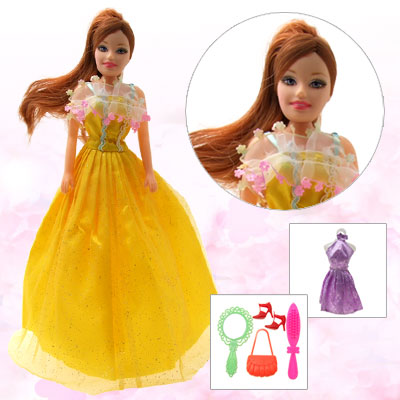 Lovely Plastic Rubber DIY Girl Doll with Yellow Skirt