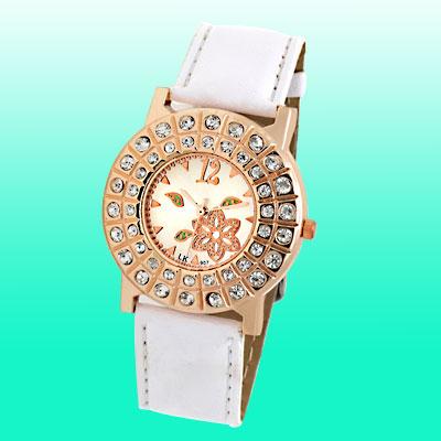 Jewelry Golden Round Cap Rhinestone White Leather Band Ladies' Watch